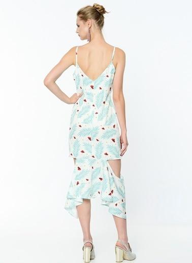 Desenli Askılı Volanlı Uzun Elbise-Soie Design